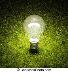 luz, iluminado, bulbo