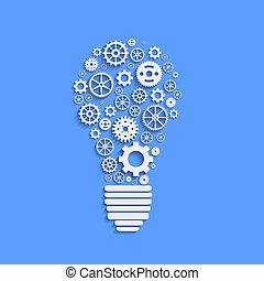 luz, ilustración, papel, vector, engranajes, bombilla
