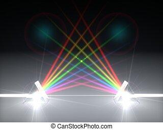 luz, ilustración, prisma, dual, refracción, ray., 3d