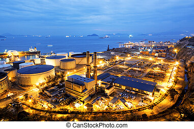 luz, indústria, petrochemical, brilho