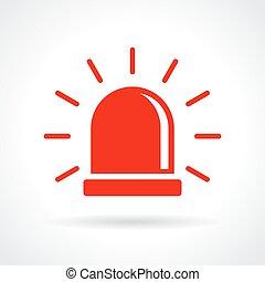 luz, intermitente, vermelho, ícone
