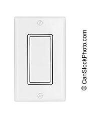 luz, interruptor, blanco, aislado