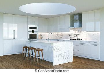 luz, janela, contemporâneo, segundo, interior, novo, branca, redondo, cozinha
