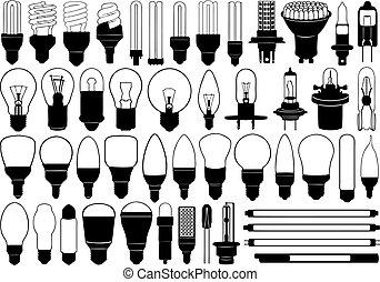 luz, jogo, bulbos