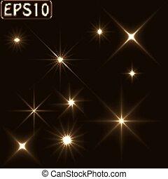 luz, jogo, estrela, vigas