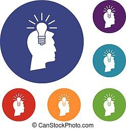 luz, jogo, idéia, bulbo, ícones