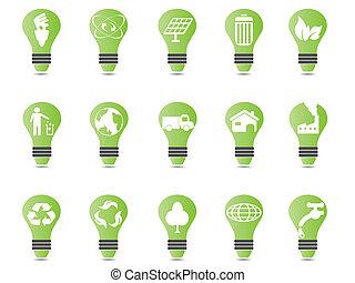 luz, jogo, verde, bulbo, ícone