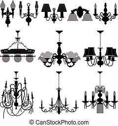 luz, lámpara, araña de luces