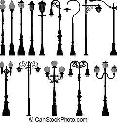 luz, lámpara, calle, lamppost, poste