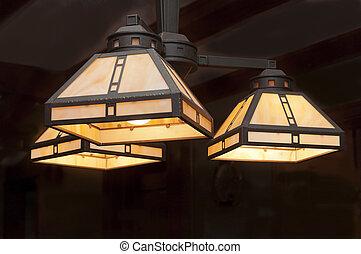 luz, lámpara, mueble empotrado