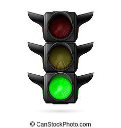 luz, lámpara, tráfico, verde