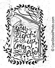 luz, lettering, ilustração