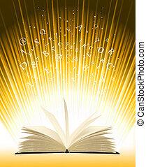 luz, libro, magia, abierto