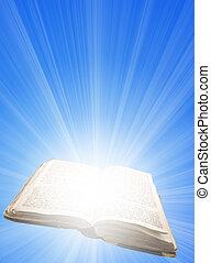 luz, livro, magia, aberta