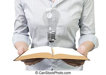 luz, livro, segurar passa, bulbo, abertos