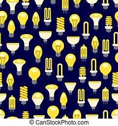 luz, luminoso, bulbos, seamless, padrão
