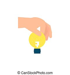 luz, mão, quebra-cabeças, forma, bulbo, pedaços