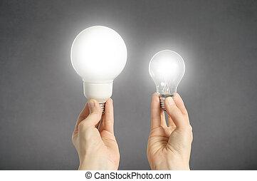 luz, mãos, bulbos