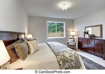 luz, moderno, maestro, dormitorio, interior, con, darkwood, cama, y, tocador