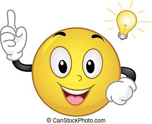 luz, momento, smiley, idea, bombilla
