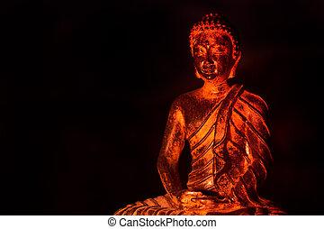 luz, morno, buddha, gautama