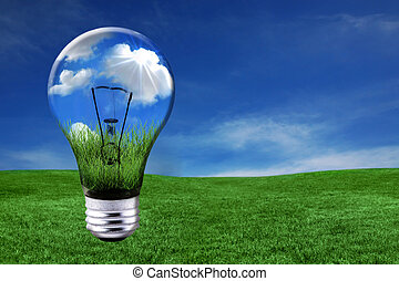 luz, morphed, verde, soluciones, bombilla, energía, paisaje