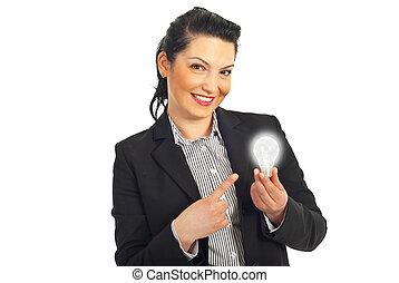 luz, mulher aponta, negócio, bulbo