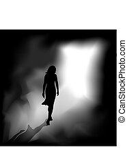 luz, mulher, escuridão