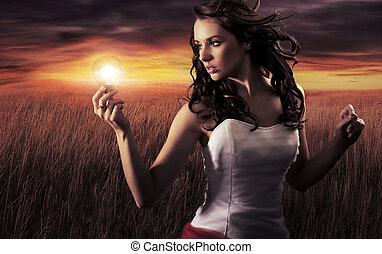 luz, mulher segura, bulbo