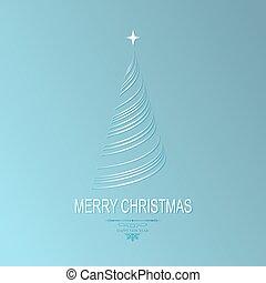 luz natal, azul, desenho, com, um, árvore natal