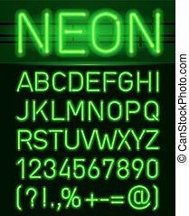 luz, neón, alfabeto