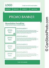 luz, newsletter, verde, plantilla