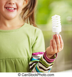 luz, niña, tenencia, bombilla