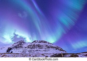 luz norte, aurora, islândia