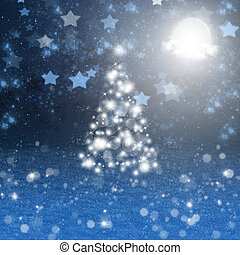 luz, noturna, árvore, natal, lua