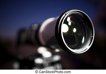 luz, noturna, lua, câmera, sob, profissional