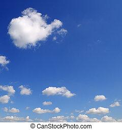 luz, nubes, en, el, azul, sky., un, brillante, soleado, day.