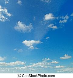 luz, nuvens, em, a, céu azul