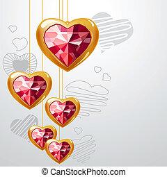 luz ouro, cinzento, fundo, penduradas, corações, rubi