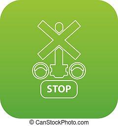 luz, parada, vetorial, tráfego, verde, estrada ferro, ícone
