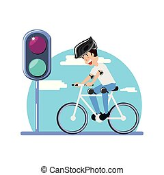 luz, paseo, carácter, trafic, bicicleta, hombre
