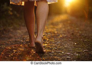 luz, pasos