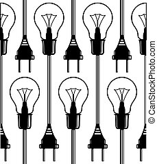 luz, pattern., seamless, bulbos
