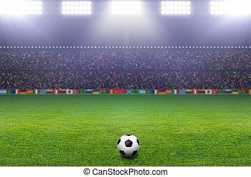 luz, pelota del fútbol, estadio