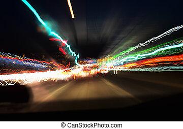 luz, pintura, camino, exposición larga