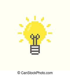 luz, pixel, bulbo, ícone