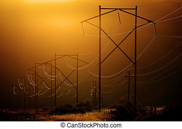 luz, powerlines, valle