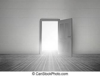 luz, puerta, apertura, revelar, brillante