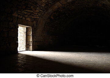 luz, puerta, entrar, por