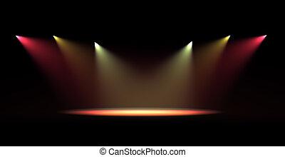 luz, punto, escena